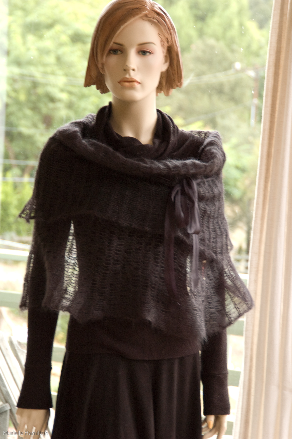 black poncho wrap kid mohair silk