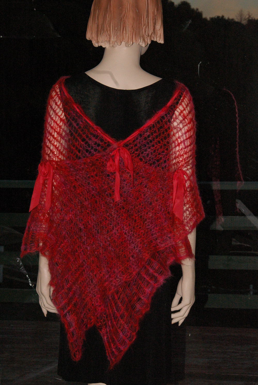 red kid mohair poncho wrap shawl silk ribbon